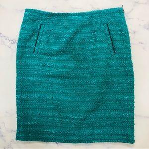 Halogen tweed emerald green pencil skirt